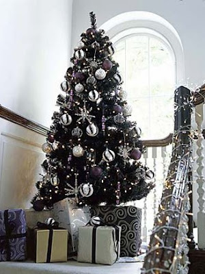 please leave your thoughts they inspire us - Christmas Tree With Purple Blue And Silver Decorations