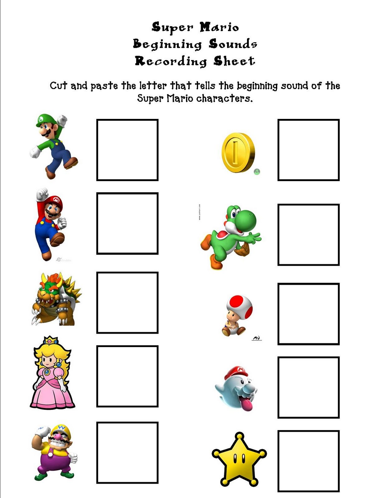 worksheet Mario Worksheets the pot o gold super mario beginning sounds whatever works works