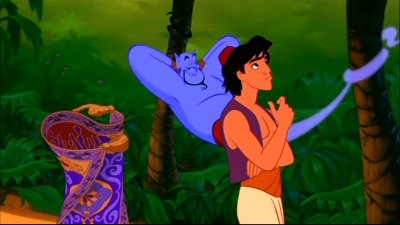 Aladdin pondering his wishes in Aladdin 1992 http://animatedfilmreviews.filminspector.com/2012/12/aladdin-1992-king-of-genies.html
