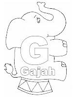 Belajar Mewarnai Huruf Abjad G Gajah