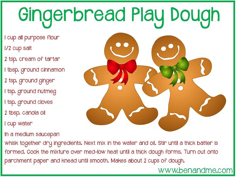 Gingerbread Play Dough Recipe {free printable} - Ben and Me