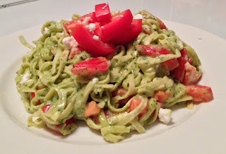 Pesto and Goat Cheese Linguine