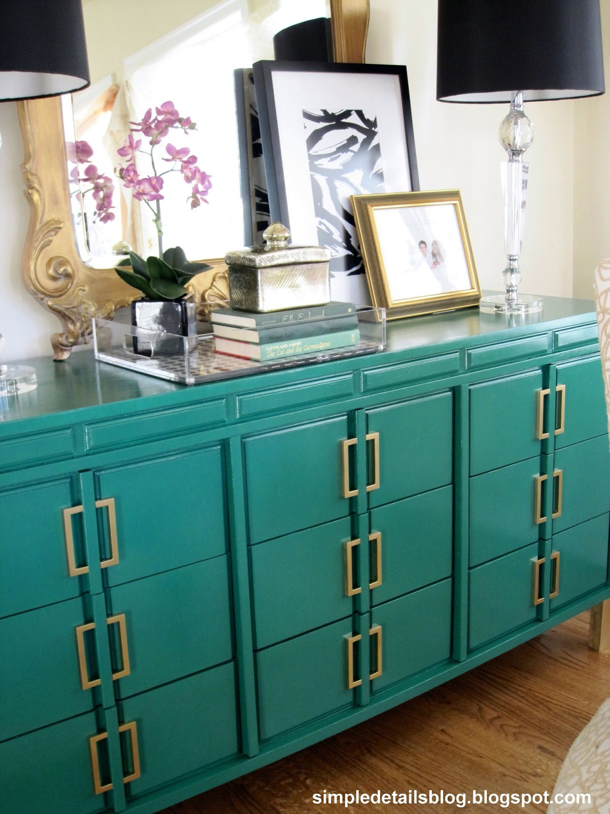 Simple Details Emerald Green Dresser Makeover