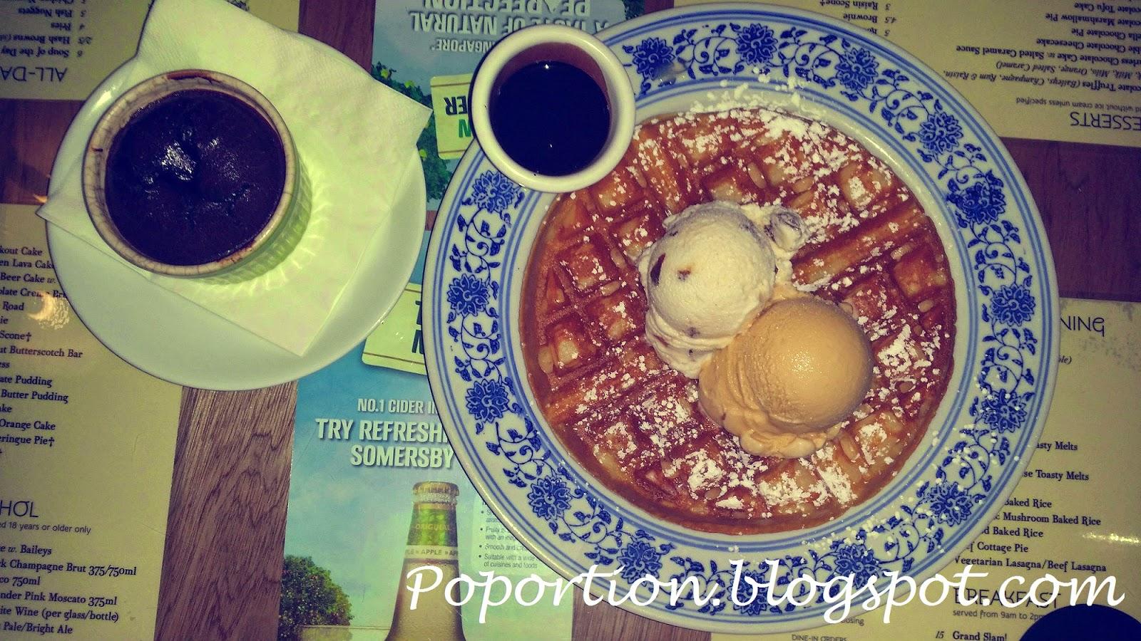 waffle ice cream chocolate lava cake