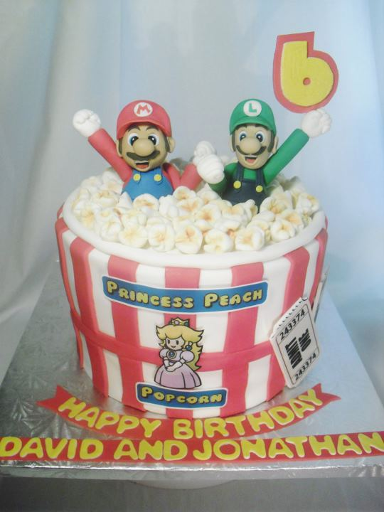 Made Fresh Daily Super Mario Bros Popcorn Bucket Birthday Cake