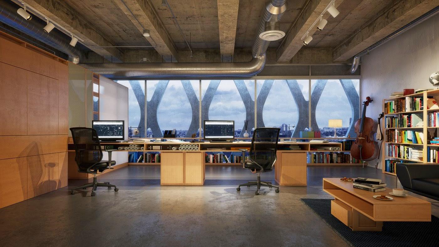 Making of warm office interior cg tutorial for Vray interior scene