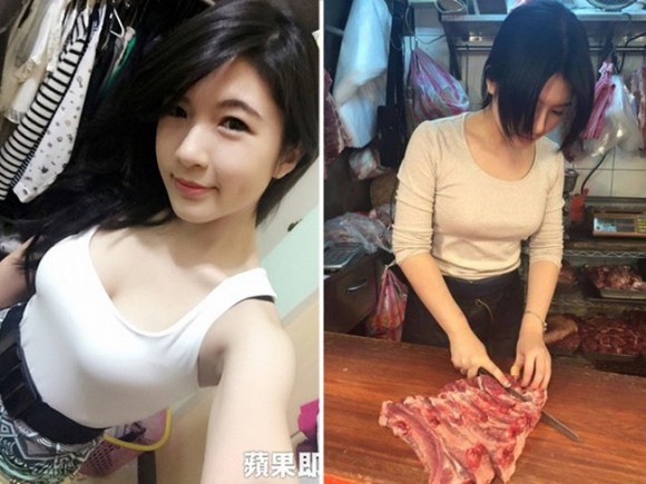 "Gorgeous college student quits school to become a butcher, gets hailed as ""Pork Princess"" online"