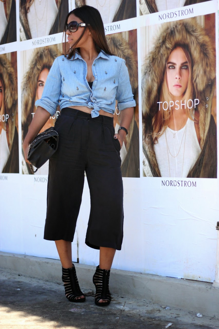 J. Crew jewel shirt culotte gaucho chanel bag los angeles fashion blogger
