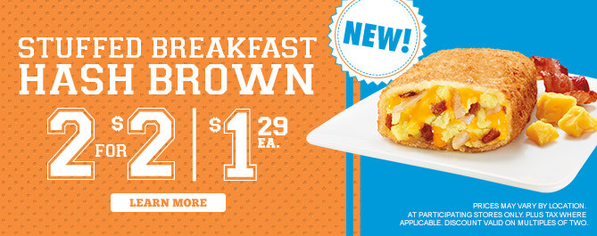 ... with the new Stuffed Breakfast Hash Browns (please say 7 times fast