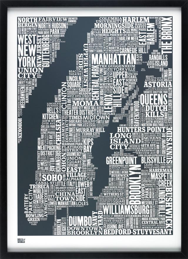 La mappa di New York in caratteri tipografici