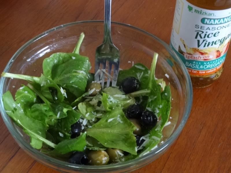 spinach, olives, Parmesan cheese,  Basil, Oregano, rice vinegar