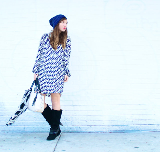 boots and printed dresses