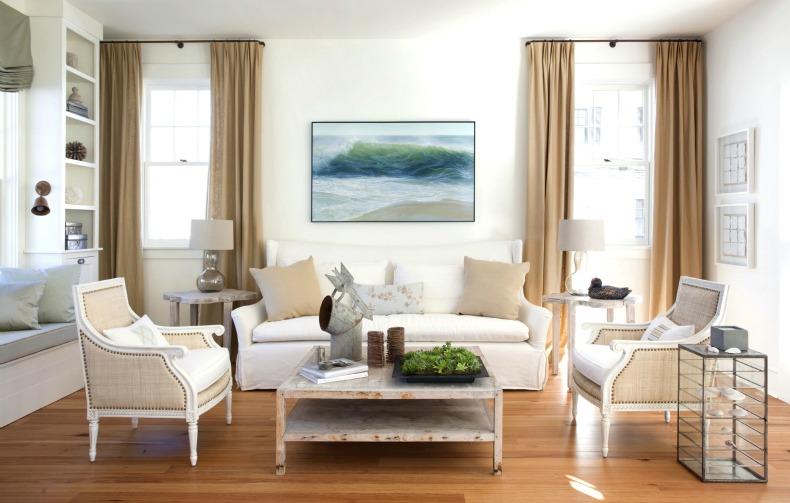 Coastal living room with white slipcover modern sofa