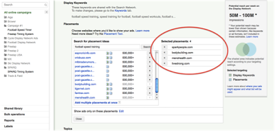 Screenshot sowing how to define your placements in Google Adwords remarketing