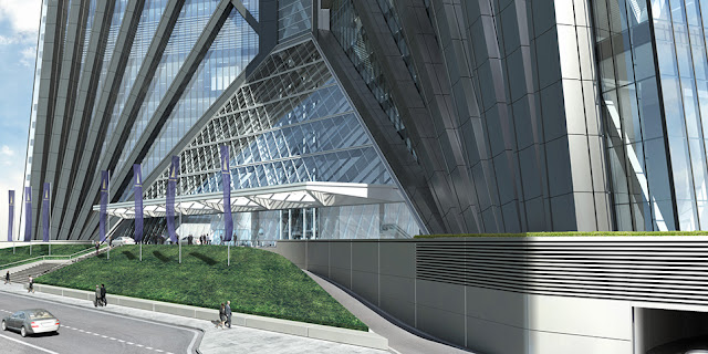 Rendering of Russia Tower podium and entrance into the tower