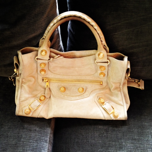 Balenciaga sahara city with GGH, Designer Purse, Balenciaga, tan purse, gold hardware, HG bag