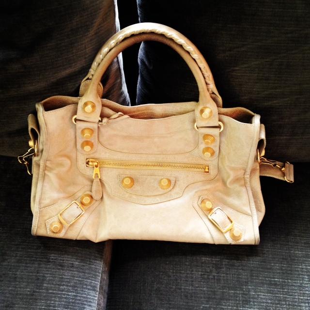 Balenciaga sahara city with GGH, Designer Purse, Balenciaga, tan purse, gold hardware, HG bag