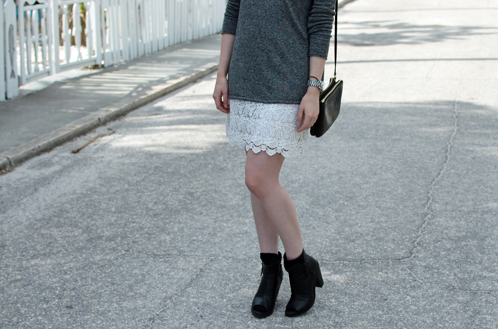 OOTD ft. Zara lace skirt, Aritzia Babaton Erin sweater, Rag & Bone Noelle booties, and a Coach crossbody bag