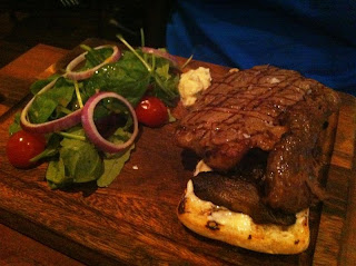 Stitch and Bear - Rib eye steak with salad at Gourmet Burger Company Ranelagh
