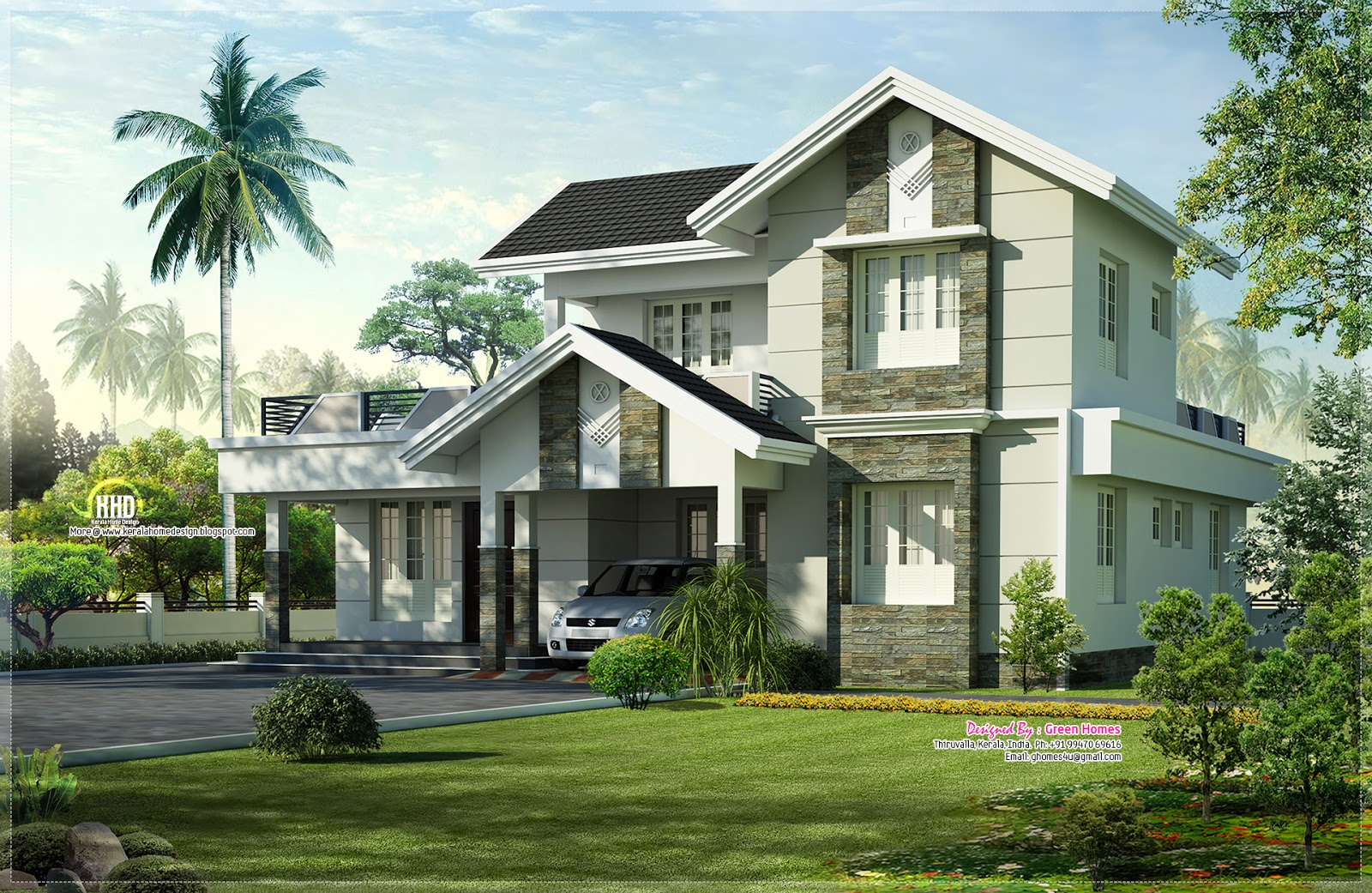 1975 nice home exterior design kerala home for Exterior stone wall house design
