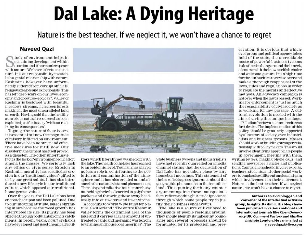 """essay on dying lake of kashmir For last thirty years or so """"efforts"""" from all sides are on to save the dying lake of dal lake conservation in jammu & kashmir tourism."""