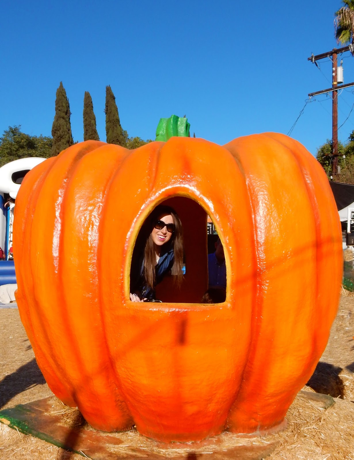 Marisa in a huge pumpkin