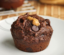 Chocolate Banana Peanut Butter Lava Muffins