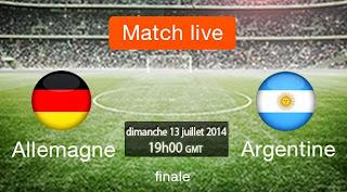 Regarder matche Allemagne vs Argentine en ligne en diracte sur internet match live en streming final coupe de monde brezil 2014