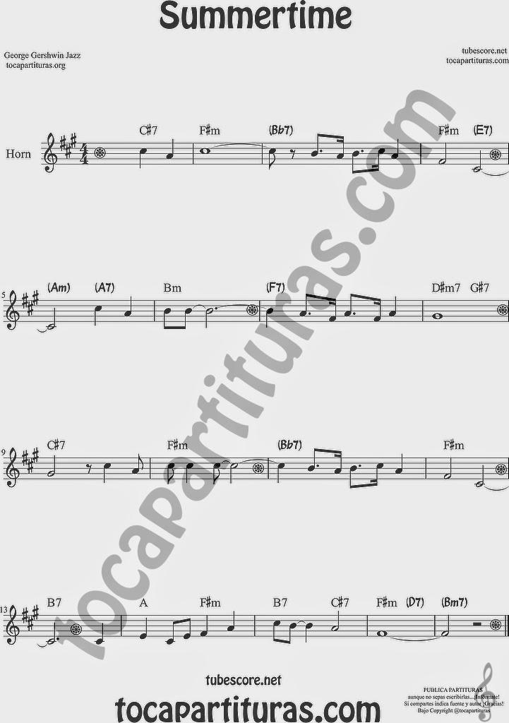 Summertime de Partitura de Trompa y Corno Francés en Mi bemol Sheet Music for French Horn Music Scores