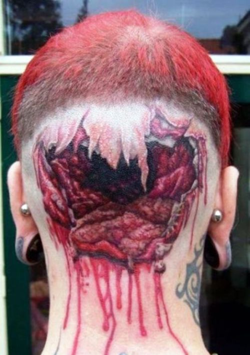 5. Cranial tattoos seem to be gaining in popularity these days, usually curving around the ear