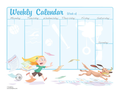 Cards for kids weekly calendar for school children for Weekly schedule template for kids