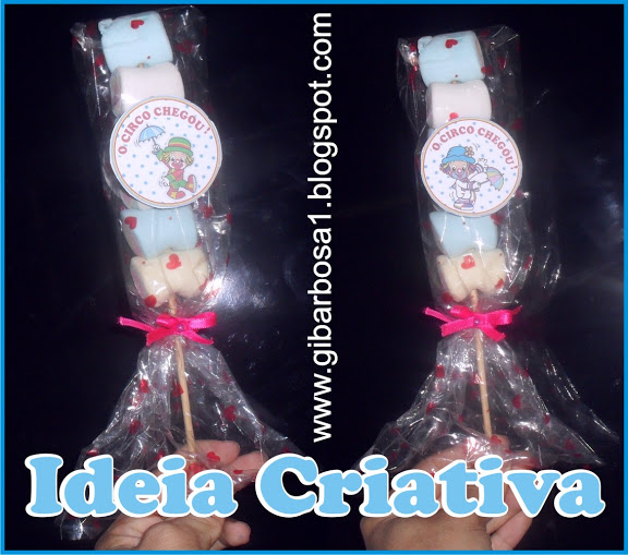 Lembrancinha Projeto Circo Pirulito de Marshmallow Patati Patatá