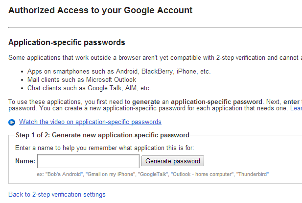 Google Application-specific passwords