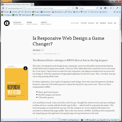 Screen shot of http://aaronweyenberg.com/1759/is-responsive-web-design-a-game-changer.