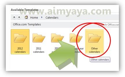 Gambar: Memilih template other calendar