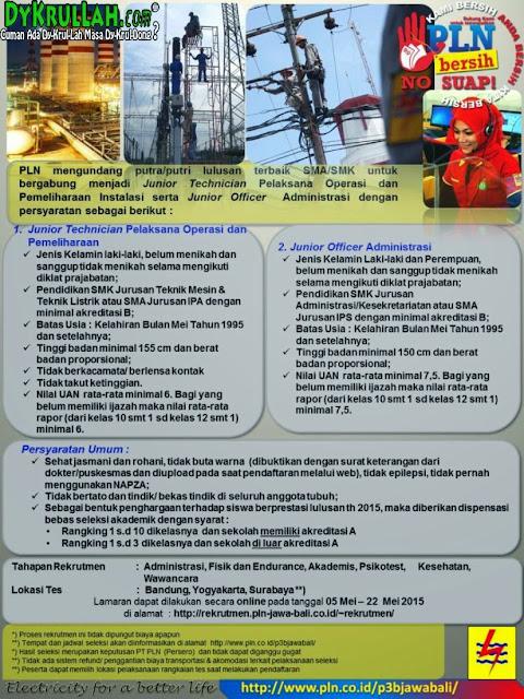Lowongan Terbaru PT. PLN Pelaksana Operasional Dan Administrasi 2015