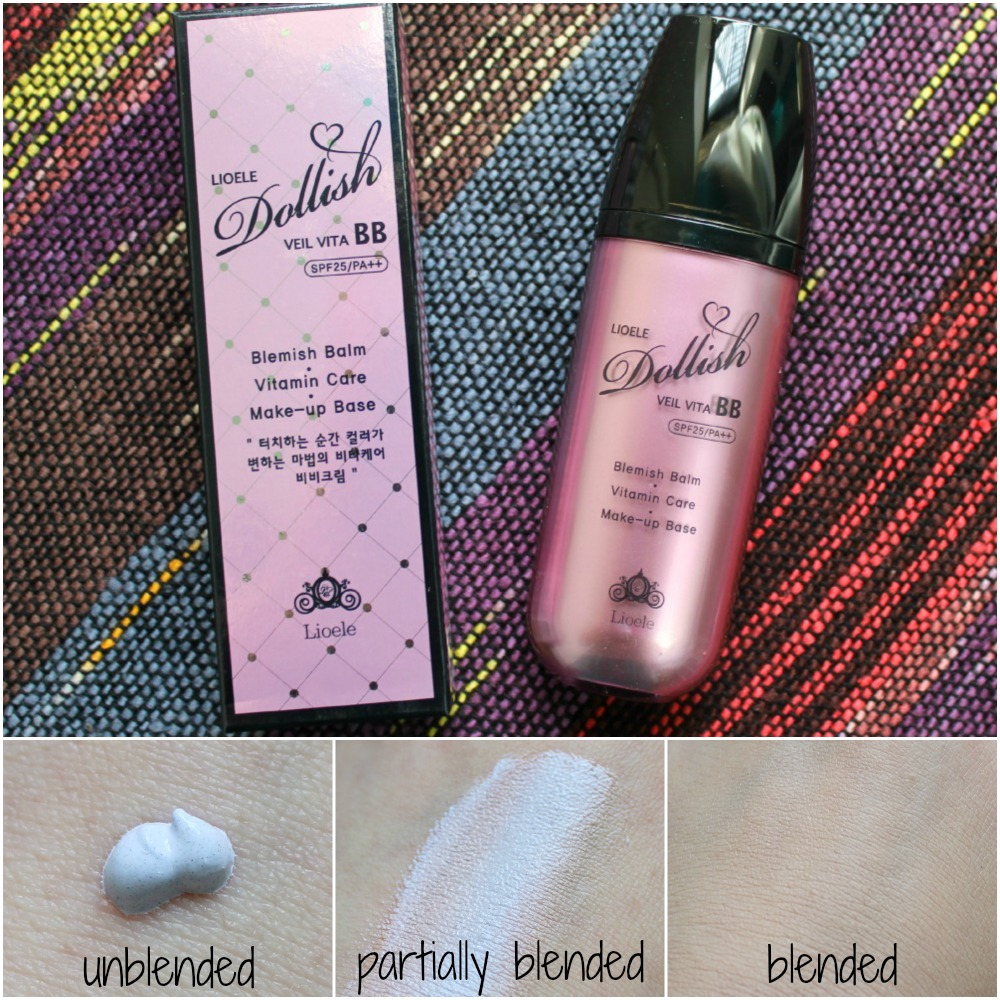 Liole Dollish Veil Vita BB Cream SPF25 PA++ Gorgeous Purple Memebox USA Shop swatch