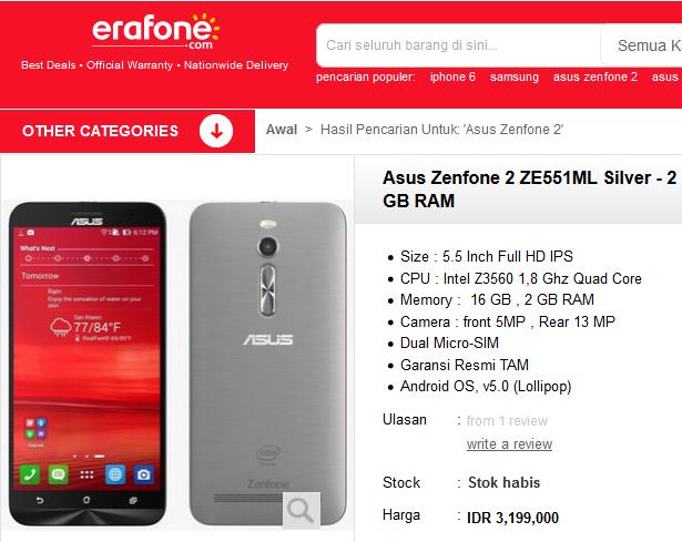 harga asus zenfone 2 ze551ml 2gb 16 gb erafone