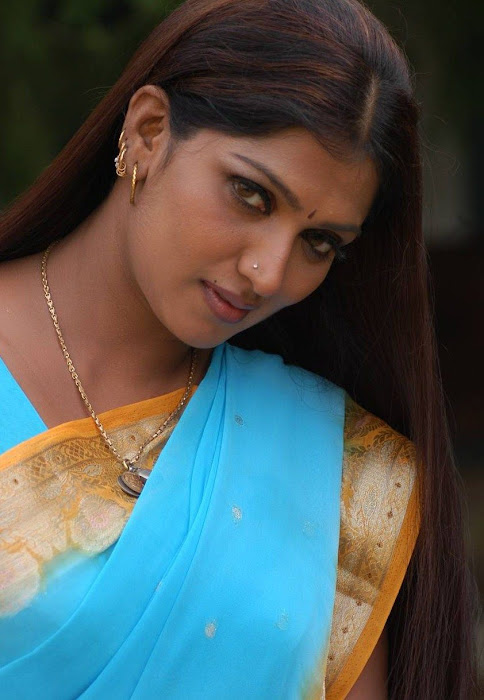 bhuvaneswari in blue saree latest photos