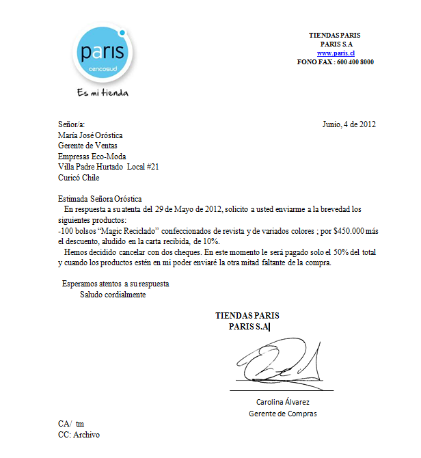 Claudia Palomera: Carta de Pedido