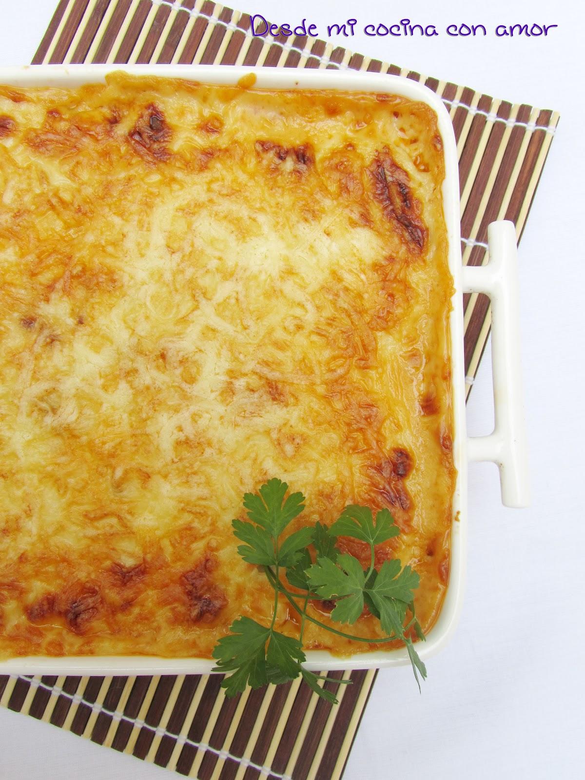 Desde mi cocina con amor grat n de patatas con bacon - Bechamel con nata para cocinar ...