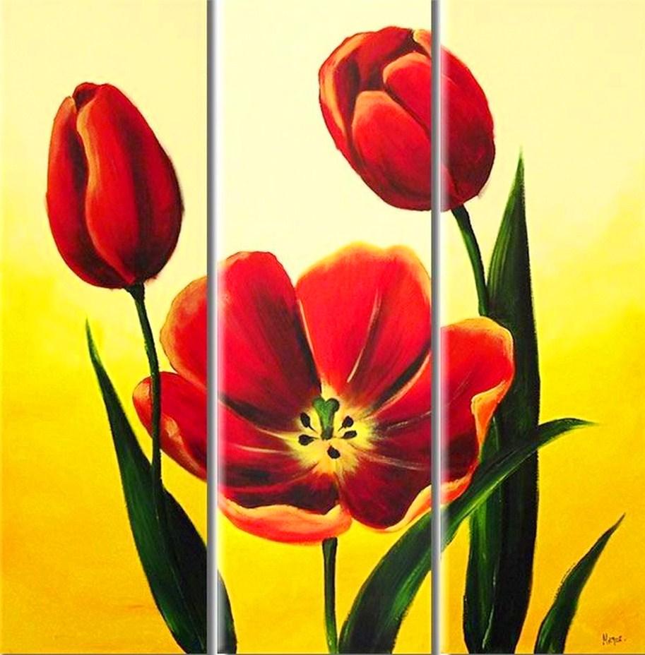 Cuadros tripticos de flores rojas auto design tech - Floreros modernos ...