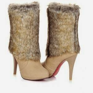 high heels shoes with fur for fashionate trends