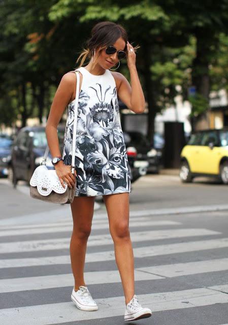 tenis com vestido curto