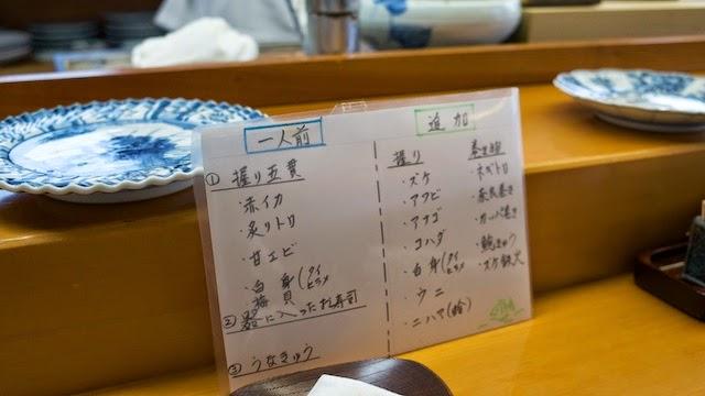 鮨 小松弥助 メニュー(一人前と追加)