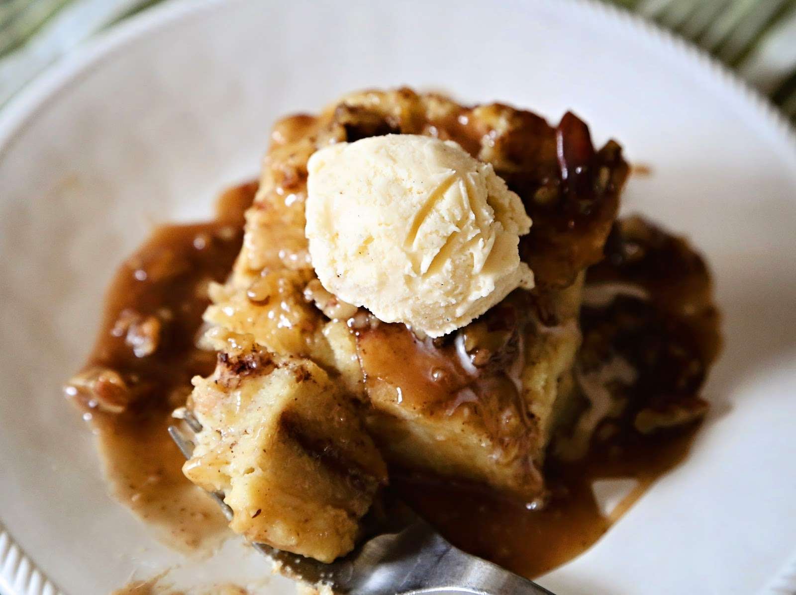 A Feathered Nest: Bread Pudding with Pecan Praline Sauce