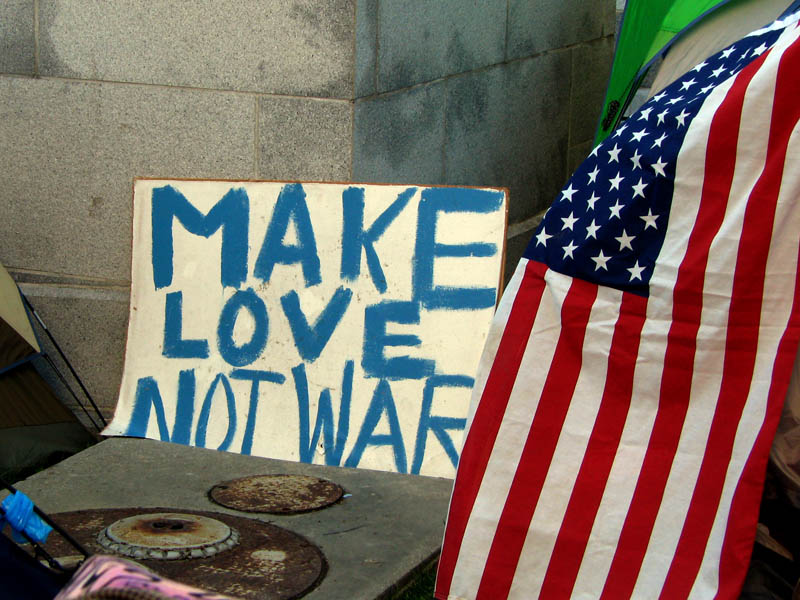 Occupy Los Angeles - sign: Make Love Not War