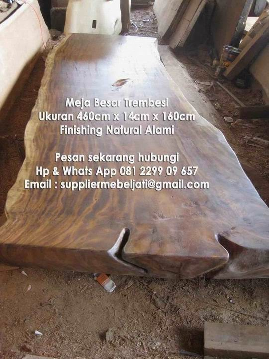 ready stock meja trembesi besar 4 meter kayu utuh furniture solid jepara