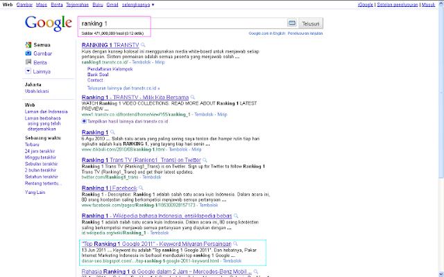 Hasil Posting Top Ranking 1 Google 2011 Setelah 96 Jam di Google Indonesia - Ranking 1