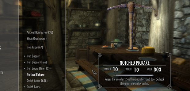 Skyrim Inspecting Items Tip